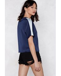 Nasty Gal Blue Set Straight Striped Top