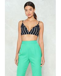 Nasty Gal Black Stripe For The Picking Bralette