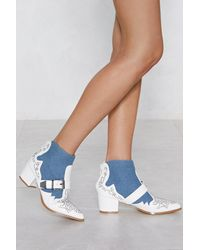 "Nasty Gal Blue ""stud Together Faux Leather Boot"""