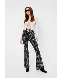 Nasty Gal Black Ditsy Floral Print High Waisted Flared Trousers