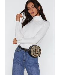 "Nasty Gal Natural ""want Fangs To You Snake Belt Crossbody Bag"""