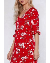 Nasty Gal Red Are You Floral Right Now Midi Dress
