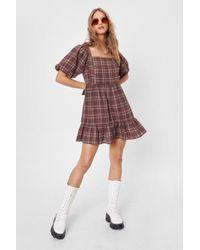 Nasty Gal Brown Check Puff Sleeve Mini Smock Dress