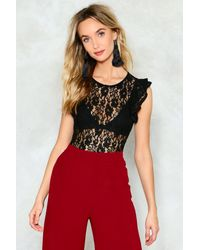 Nasty Gal Black I See What You Mean Lace Bodysuit