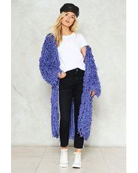 Nasty Gal Blue Shades Of Cool Shaggy Maxi Jacket Shades Of Cool Shaggy Maxi Jacket