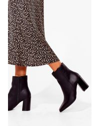 Nasty Gal Black Faux Leather Heeled Ankle Boots
