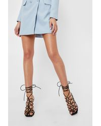 Nasty Gal Black Faux Leather Lace Up Strappy Stiletto Heels