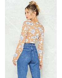 """Nasty Gal Blue """"knot Possible Floral Crop Top"""""""