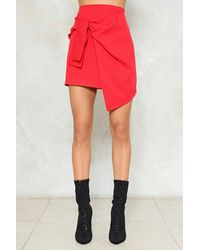 Nasty Gal - Red Bow Front Asymmetric Mini Skirt Bow Front Asymmetric Mini Skirt - Lyst