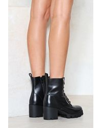 """Nasty Gal Black """"kick It Up A Notch Faux Leather Boot"""""""