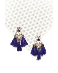 Nasty Gal - Blue Mixed Stone Tassel Earrings Mixed Stone Tassel Earrings - Lyst