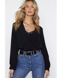 Nasty Gal Black Best Of My Lace Blouse