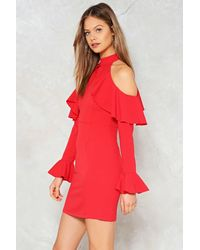 Nasty Gal - Red Frill Cold Shoulder Dress Red Frill Cold Shoulder Dress - Lyst