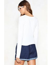 Nasty Gal - Blue What's Crew With You Ribbed Top - Lyst