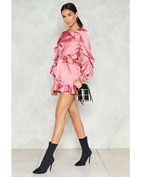 Nasty Gal Pink Cut-out With The Old Satin Romper