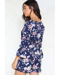 Nasty Gal - Blue Call Me In A Flower Tie Front Romper - Lyst