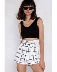 Nasty Gal White Check On It Paperbag Shorts