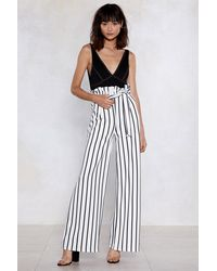 "Nasty Gal White ""long Way Up Striped Pants"""