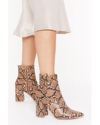"Nasty Gal Brown ""faux Leather Snake Boots With Block Heels"""