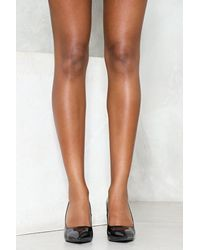 Nasty Gal - Black Patent Vegan Leather Flare Heel Patent Vegan Leather Flare Heel - Lyst
