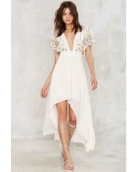 Nasty Gal White Artemis Embellished Cape Dress