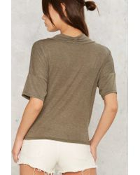 Nasty Gal - Green Twist Connections Plunging Top - Olive - Lyst
