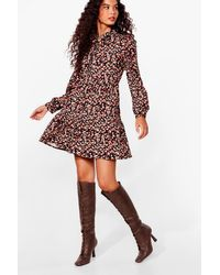 Nasty Gal Brown Lace Up Heeled Knee High Boots