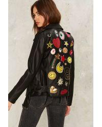 Nasty Gal Black Invasion Of The Body Patchers Moto Jacket