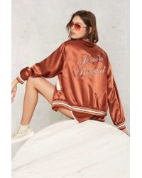 Nasty Gal Orange Stoned Immacualte Roller Girl Embroidered Jacket