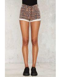 One Teaspoon Brown Harlets Denim Shorts - Black Cat