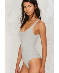 Nasty Gal   End Of The Night Ribbed Bodysuit - Gray   Lyst