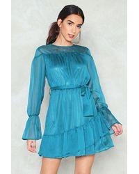 Nasty Gal Blue Ruffle Belted Dress Ruffle Belted Dress