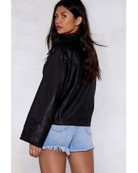Nasty Gal Black Come Along For The Ride Faux Leather Moto Jacket