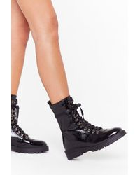 "Nasty Gal Black ""d-ring Your Patent Faux Leather Boots """