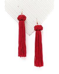 Nasty Gal - Red Bead Ball Long Tassel Earrings Bead Ball Long Tassel Earrings - Lyst