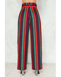 Nasty Gal Blue Stripe Belted Wide Leg Pants Stripe Belted Wide Leg Pants