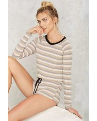 Nasty Gal - Natural Give It A Rest Ribbed Lounge Top - Lyst