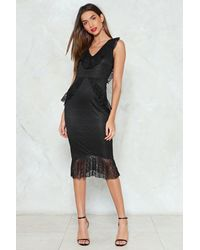 Nasty Gal Black Lace Ruffle Midi Dress