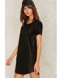 Nasty Gal - Black Crew Baby Vegan Leather Dress - Lyst