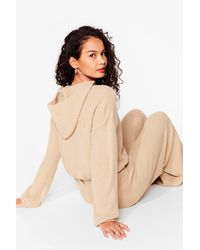 Nasty Gal Natural The Hood Life Knit Hoodie And Trousers Lounge Set