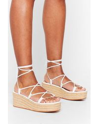 Nasty Gal White Get Lace-up Woven Platform Sandals