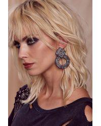 Nasty Gal - Black Knock Knock Pavã© Earrings - Lyst