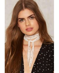 Nasty Gal Chan Luu Let's Go Lace Necktie - White