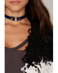 Jakimac | Blue Alexis O-ring Leather Choker - Navy | Lyst