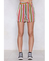 """Nasty Gal Red """"good Lines Roll Striped Shorts"""""""