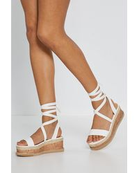 Nasty Gal White Tied And Tested Wrap Cork Sandals
