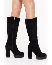 """Nasty Gal Black """"faux Suede Platform Cleated Knee Boots"""""""