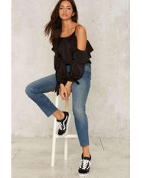 Nasty Gal Black Down And Out Cold Shoulder Satin Top