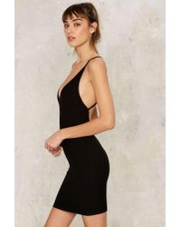 Nasty Gal Black First Things First Ribbed Mini Dress