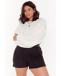 """Nasty Gal White """"coming Balloon Sleeve Plus Knit Sweater"""""""